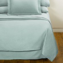 DownTown Paula Matelasse Bed Skirt - Queen, Mercerized Cotton in Aqua - Closeouts