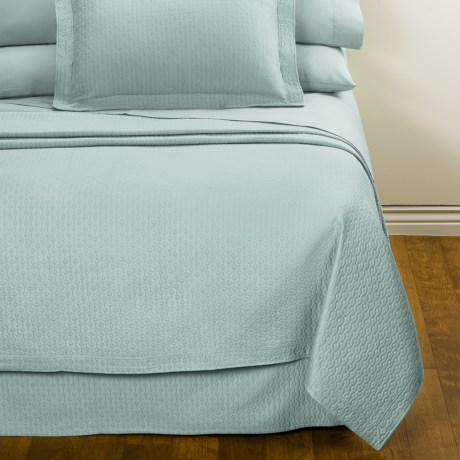 DownTown Paula Matelasse Bed Skirt - Queen, Mercerized Cotton in Aqua