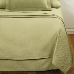 DownTown Paula Matelasse Coverlet - Twin, Mercerized Cotton in Moss