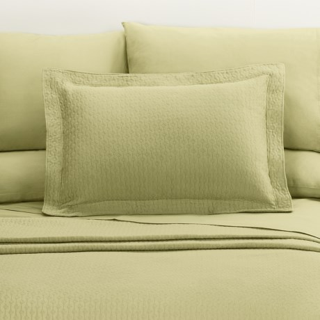 DownTown Paula Matelasse Pillow Sham - Standard, Mercerized Cotton in Moss