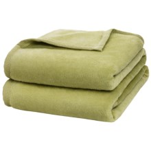 DownTown Plush Blanket - Cotton-Rayon, Queen in Leaf Green - Closeouts