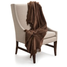 DownTown Plush Throw Blanket with Fringe - Cotton-Rayon in Chocolate - Closeouts