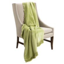 DownTown Plush Throw Blanket with Fringe - Cotton-Rayon in Leaf Green - Closeouts