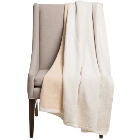 """DownTown Reversible Throw Blanket - Egyptian Cotton, 50x70"""" in Ivory / Camel"""