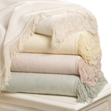 DownTown Shangri-La Fringed Plush Throw Blanket - Cotton-Rayon in Butter - Closeouts