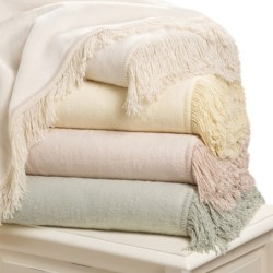 DownTown Shangri-La Fringed Plush Throw Blanket - Cotton-Rayon in Cream