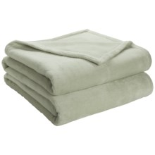 DownTown Shangri-La Plush Blanket - King, Cotton-Rayon in Sky - Closeouts