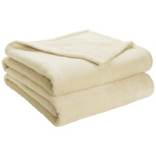 DownTown Shangri-La Plush Blanket - Queen, Cotton-Rayon in Butter - Closeouts
