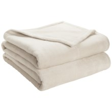 DownTown Shangri-La Plush Blanket - Queen, Cotton-Rayon in Cream - Closeouts