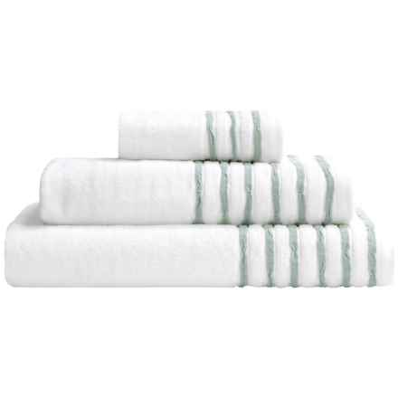 DownTown Trimmed Collection Bath Towel Set - 3-Piece in White/Aqua - Closeouts