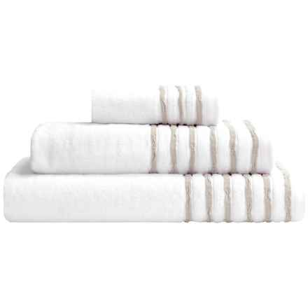 DownTown Trimmed Collection Bath Towel Set - 3-Piece in White/Taupe - Closeouts