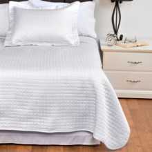 DownTown Urban Quilted Collection Coverlet - King, Egyptian Cotton Sateen in White - Closeouts