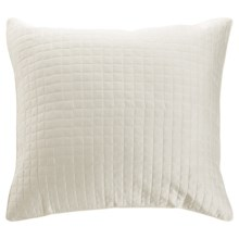 DownTown Urban Quilted Collection Pillow Sham - Euro, Egyptian Cotton Sateen in Ivory - Closeouts