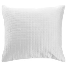 DownTown Urban Quilted Collection Pillow Sham - Euro, Egyptian Cotton Sateen in White - Closeouts