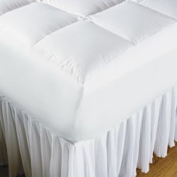 DownTown White Goose Down Mattress Pad - King, 600+ Fill Power, Fitted Skirt in White