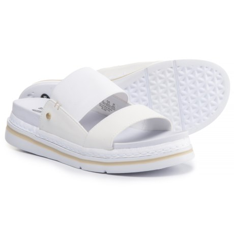 Dr. Scholl's Two-Band Slide Sandals - Vegan Leather (For Women) in White
