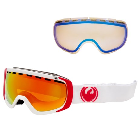 Dragon Alliance 2013 Rogue Snowsport Goggles - Ionized, Interchangeable Lens in White/Red Ionized Yellow Blue Ion