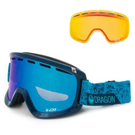 Dragon Alliance D1 Ski Goggles - Extra Lens in Stone Blue/Blue Steel + Yellow Red - Closeouts