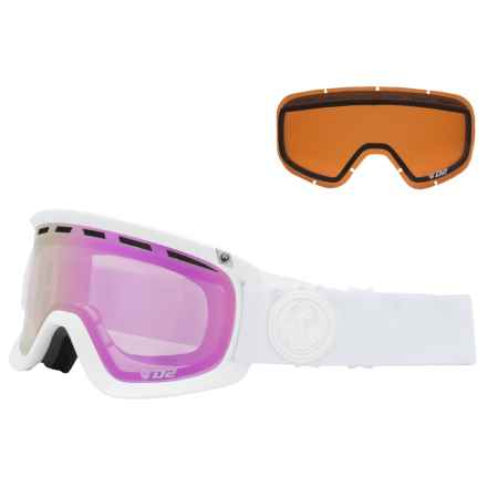 Dragon Alliance D2 Ionized Ski Goggles - Extra Lens (For Women) in Whiteout/Pink Ion+Ionized - Overstock