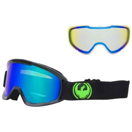 Dragon Alliance DX2 Ionized Ski Goggles - Extra Lens in Jet/Green Ion/Yellow Blue Ion - Overstock