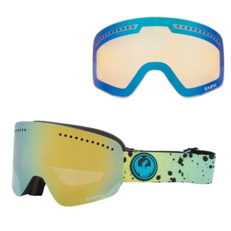 Dragon Alliance NFX Snowsport Goggles - Ionized, Interchangeable Lens in Splatt/Smoke Gold/Yellow Blue Ion