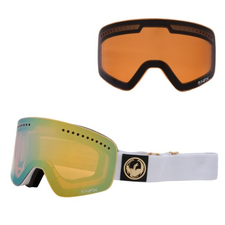 Dragon Alliance NFX Snowsport Goggles - Ionized, Interchangeable Lens in White/Gold Ionized Amber