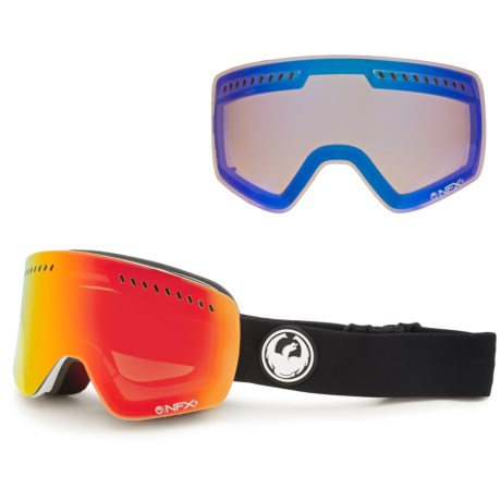 Dragon Alliance NFXs Snowsport Goggles - Asian Fit, Interchangeable Lens in Inverse Red/Yellow Blue Ion