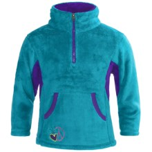 Dragonflies Maddie Cozy Fleece Jacket -Zip Neck (For Little Girls) in Turquoise Radiance/Purple Berry - Closeouts