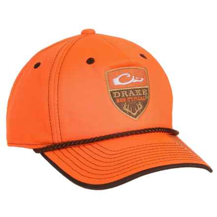 Drake Five-Panel Baseball Cap (For Men) in Blaze Orange/Antler Logo - Closeouts