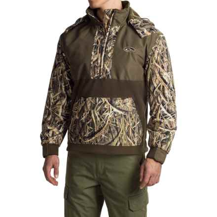 Drake MST Shooters Hoodie - Waterproof, Fleece Lined, Zip Neck (For Men) in Mossy Oak Shadow Grass Blades - Closeouts