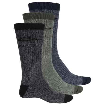 Drake Ultra-Dri® Boot Socks - 3-Pack, UltraSpun® Cotton Blend, Crew (For Men) in Dark Olive/Navy/Black - Overstock