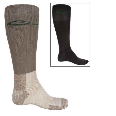 Drake Wick N' Warm Sock and Liner System - 2-Pack, Merino Wool Blend, Mid Calf (For Men) in Mocha/Black - Overstock