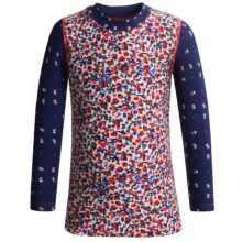 Drama Queen Printed Rash Guard - Long Sleeve (For Girls) in Flower - Closeouts