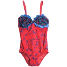 Drama Queen Ruffled Print One-Piece Swimsuit - UPF 50+  (For Little and Big Girls) in Ivy - Closeouts