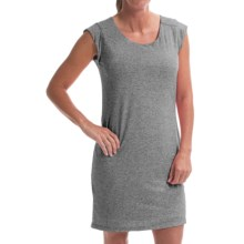 Drape-Back Dress - Short Sleeve (For Women) in Grey - Closeouts