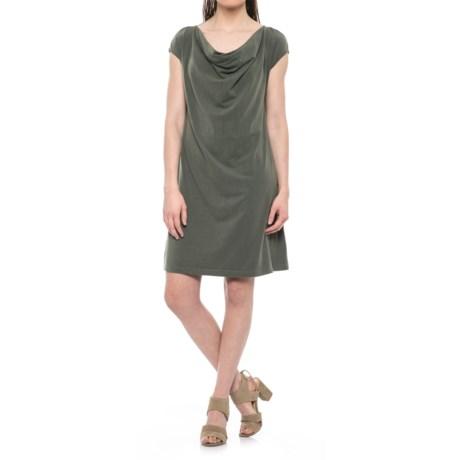Drape Neck Dress - Short Sleeve (For Women)