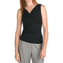 Drape Neck Suit Shell - Side Ruching, Sleeveless (For Women) in Black - 2nds