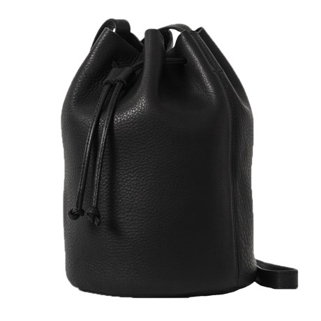 Drawstring Purse - Leather (For Women) - BLACK ( ) (792DY-03) photo