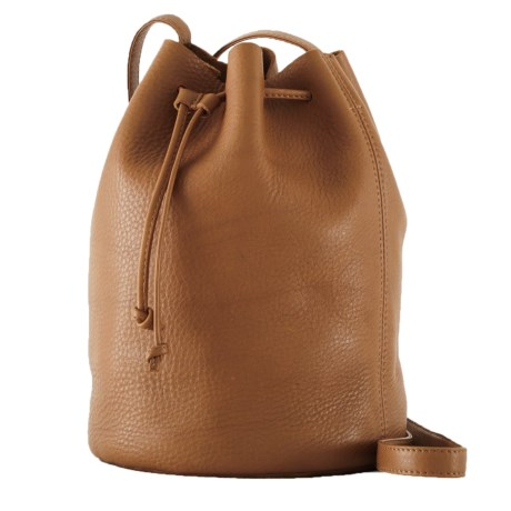 Drawstring Purse - Leather (For Women) - CARAMEL ( ) (792DY-02) photo