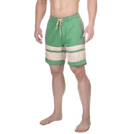 Drawstring Striped Boardshorts - 3-Pocket (For Men) in Malachite Green - 2nds