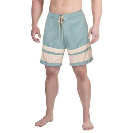 Drawstring Striped Boardshorts - 3-Pocket (For Men) in Stone Blue - 2nds