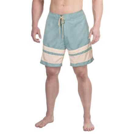 Drawstring Striped Boardshorts - 3-Pocket (For Men) in Stone Blue - 2nds