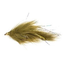 Dream Cast Gold Bead Head Rabbit Leech Streamer Fly - Dozen in Olive - Closeouts
