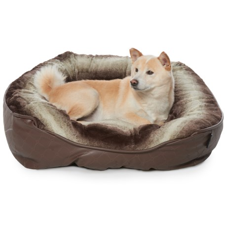 "Dream Faux-Fur and Faux-Leather Dog Bed - 35x27"" in Brown"