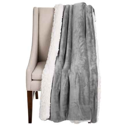 "Dream Home Devine Cloud Sherpa Reversible Throw Blanket - 50x60"" in Grey - Closeouts"