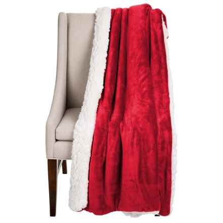 """Dream Home Devine Cloud Sherpa Reversible Throw Blanket - 50x60"""" in Red - Closeouts"""