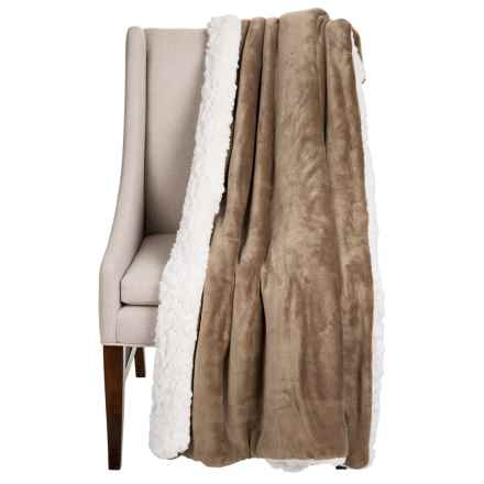 "Dream Home Devine Cloud Sherpa Reversible Throw Blanket - 50x60"" in Taupe - Closeouts"