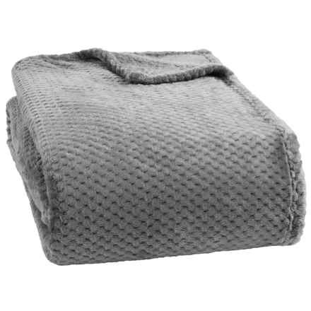 Dream Home Jacquard Plush Popcorn Blanket - Full-Queen in Grey - Closeouts