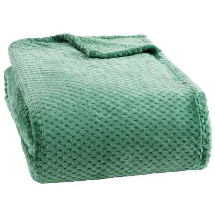 Dream Home Jacquard Plush Popcorn Blanket - Full-Queen in Jade - Closeouts