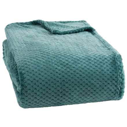 Dream Home Jacquard Plush Popcorn Blanket - Full-Queen in Smoke Blue - Closeouts